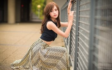 girl, pose, look, skirt, model, hair, asian