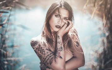 pose, look, model, tattoo, hands, bokeh, sarah m.j
