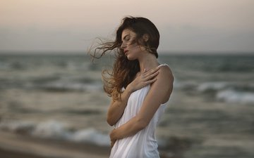 girl, model, surf, the wind, curls, white dress, closed eyes, ana valenciano