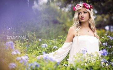 цветы, природа, девушка, блондинка, модель, венок, голые плечи, allison, kaunis hetki, kaunis hetki photography