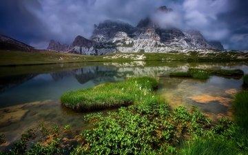 clouds, lake, mountains, snow, nature, reflection, summer, dolomiti