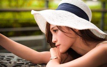 девушка, взгляд, профиль, волосы, лицо, шляпа, азиатка, боке