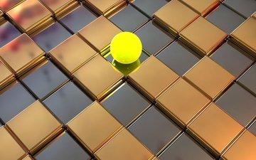шар, квадраты, кубы, шарик, поверхность, 3д