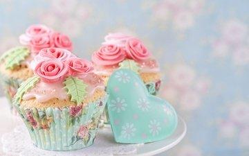 розы, сердечко, сладкое, украшение, выпечка, десерт, кексы, крем
