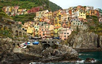 rocks, sea, home, italy, manarola, cinque terre