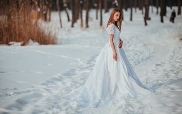 snow, winter, girl, frost, look, model, face, hairstyle, white dress, anna tikhonova