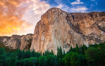 the sky, clouds, trees, mountains, usa, ca, yosemite national park