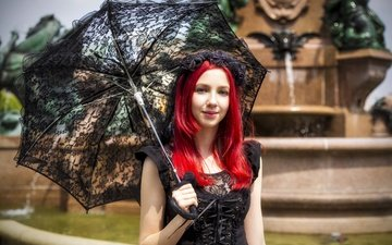 style, girl, summer, look, model, hair, face, umbrella, red hair