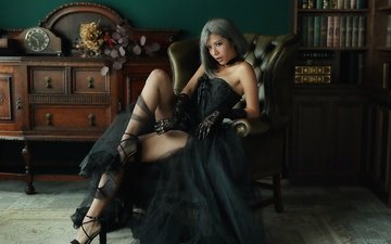 стиль, девушка, платье, взгляд, комната, ножки, волосы, лицо, кресло, фигура