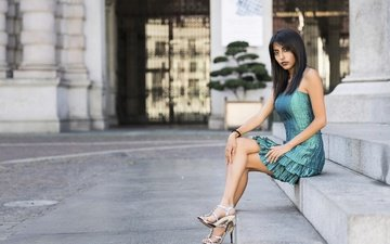steps, girl, dress, summer, look, model, legs, hair, face, josimar