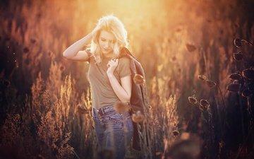 light, nature, plants, girl, look, hair, face, tereza