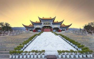 light, the sun, temple, ladder, sunset, pagoda, china