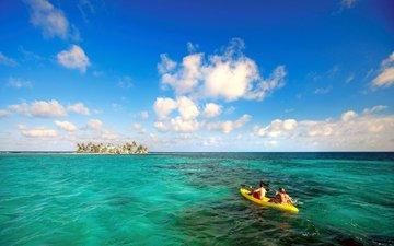 море, лодка, остров, тропики