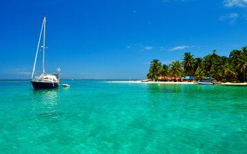 sea, beach, yacht, island, tropics