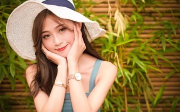 girl, smile, look, watch, hair, face, hat, asian