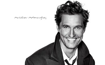 smile, look, black and white, actor, face, coat, matthew mcconaughey, dylan o'brien