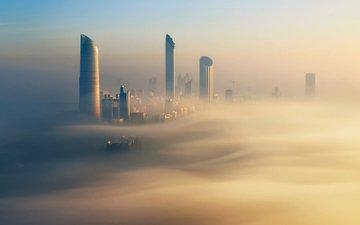 morning, fog, building, dubai, uae