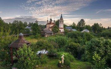 the evening, summer, russia, church, patio, vologda oblast, ustyuzhna