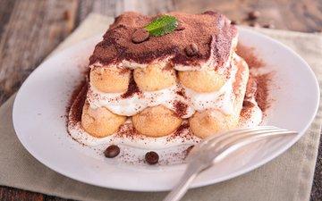 вилка, сладкое, тарелка, сладость, торт, десерт, пирожное, тирамису, крем