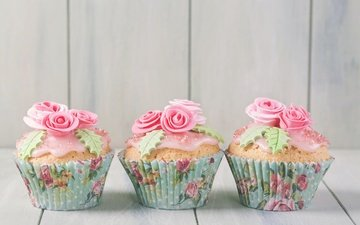 розы, сладкое, украшение, день рождения, выпечка, десерт, кексы, день рождение, крем, brithday