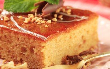 торт, кусок, сироп