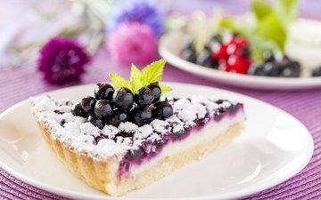 ягоды, выпечка, десерт, сахарная пудра, пирог, начинка, чёрная смородина