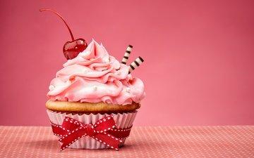 bow, cupcake, cream