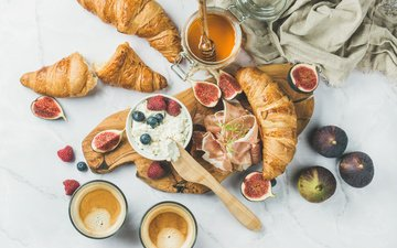 raspberry, coffee, berries, blueberries, breakfast, honey, croissants, figs, bacon, ricotta