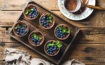 mint, berries, blueberries, sweet, dessert, cocoa, tiramisu, mascarpone