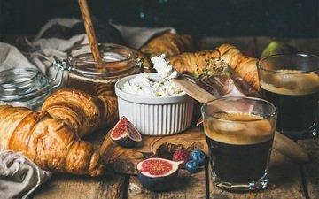 food, coffee, breakfast, honey, croissants, figs