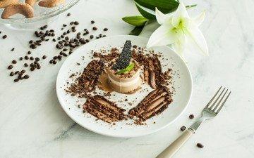 мята, мороженое, лилия, шоколад, кофейные зерна, печенье, десерт
