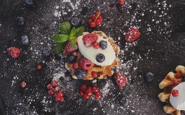 mint, raspberry, food, berries, blueberries, sweet, red currant, powdered sugar, waffles, cream