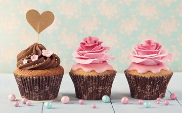roses, heart, decoration, cupcakes, cream
