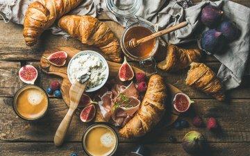 food, coffee, cheese, breakfast, croissants, figs, bacon, ricotta