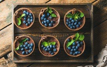 mint, food, berries, blueberries, breakfast, dessert, tiramisu