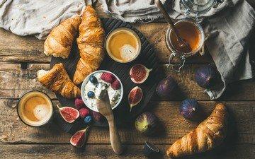 малина, кофе, ягоды, черника, мед, выпечка, эспрессо, круассаны, инжир, рикотта