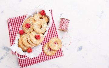 малина, печенье, выпечка, десерт, посыпка