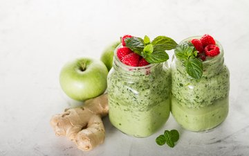 mint, drink, raspberry, apples, ginger, smoothies