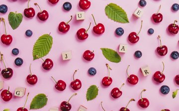 summer, letters, cubes, cherry, berries, blueberries
