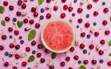 letters, cherry, watermelon, leaves, blueberries