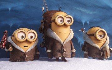 зима, друзья, боб, кевин, миньоны, анимация, мульфим, миньен, миромакс, стюарт
