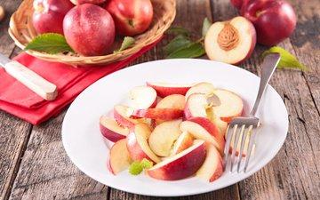 фрукты, дольки, тарелка, косточка, нектарин