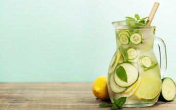 mint, drink, ice, pitcher, lemons, lemonade