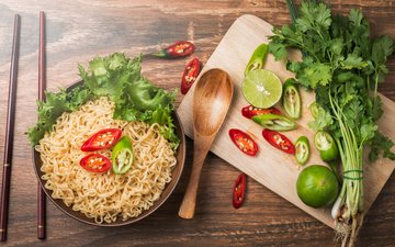 lime, thailand, chile, parsley, noodles, bowl, asian, chili