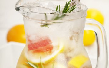 фрукты, лёд, лимон, коктейль, грейпфрут, лимонад, цитрусовые