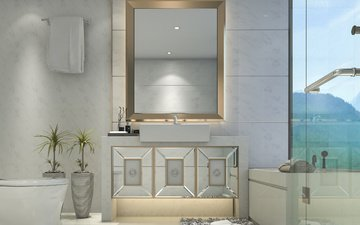 flowers, interior, mirror, villa, bathroom, modern, decor, vases, luxurious