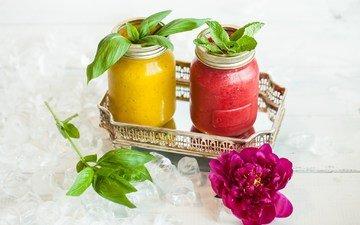 мята, напиток, цветок, лёд, пион, смузи