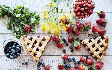цветы, клубника, ягоды, черника, сладкое, земляника, выпечка, пирог