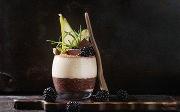 ягоды, стакан, шоколад, десерт, ежевика, ложка, пудинг, рисовый