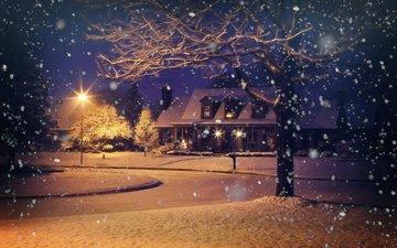 деревья, вечер, снег, природа, зима, дом, фонарь, снегопад